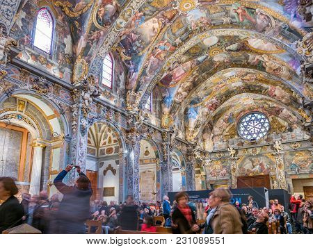 Valencia, Spain - February 28: Unidentified Tourists Enjoy A Tour Inside St. Nicholas Chapel Also Kn