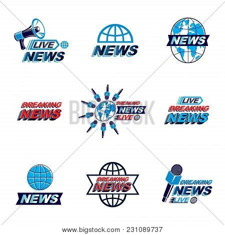 Set Of Social Telecommunication Theme Logotypes, Emblems And Posters. Earth Globe, Microphones And M