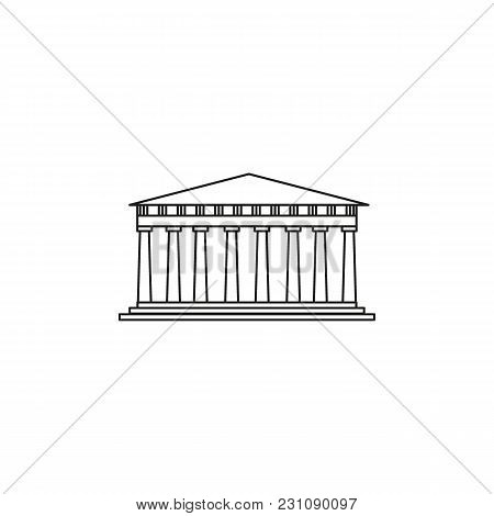 Pantheon Icon. Outline Illustration Of Greek Architecture Pantheon Vector Icon For Web And Advertisi