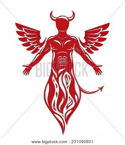 Vector Illustration Of Human, Horned Frightening Creature Made With Bird Wings. Evil Spirit, Flame D