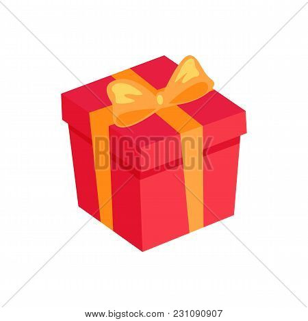Gift Box Icon With Golden Bow And Ribbon Isolated On White Background. Red Present Package, New Year