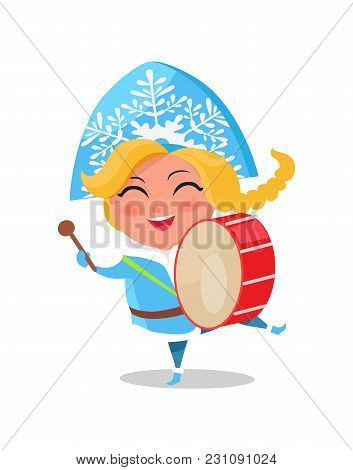 Snow Maiden Play On Drums Vector Illustration Cartoon Character Isolated On White Background. Drum K