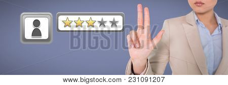 Digital composite of Businesswoman holding three fingers and three star review ratings