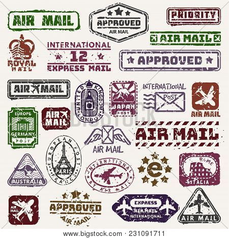 Vector Vintage Postage Mail Stamps Retro Delivery Badge Plane, Train Transport Stickers Collection G