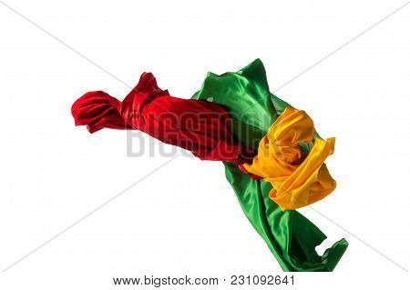 Smooth Elegant Transparent Yellow, Red, Green Cloth Isolated Or Separated On White Studio Background