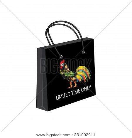 Gift Paper Bag Black Bright Colorful Rooster Symbol Of New Year Isolated White Background Vector Adv