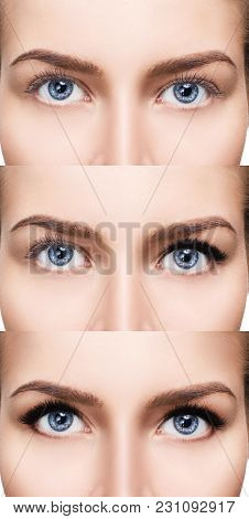 Woman's Face Close-up Before And After Bright Makeup.