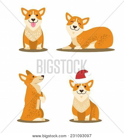 Dogs Collection Of Icons, Domestic Pets And Happy Mood, Canines With Sticked Out Tongue, Closed Eyes