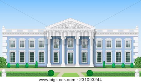 The Facade Of A Classical Public Building Is A Palace, A Courthouse Or A Theater, A Parliament Or A