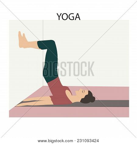 Yoga Woman Doing Stretching Exercises On At The Wall The Position Number 3 Light Vector Background