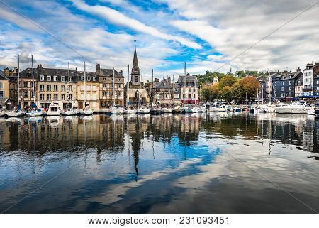 Old Port Of Honfleur Town, Normandy, France