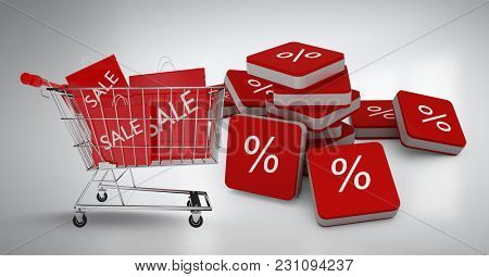 Digital composite of Sale shopping trolley and bags with percent symbol icons