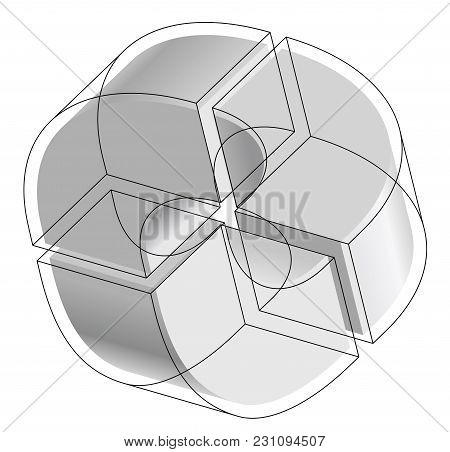 Abstract Curved Vector Shape Reminiscent Of Technological Development, Nanotechnology Outlined Compo