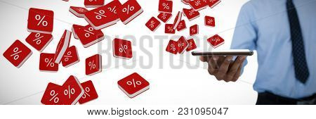 Mid section of businessman holding digital tablet against percent sign vector icon