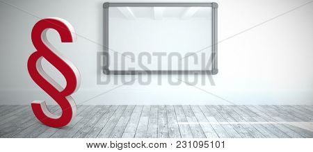 Vector icon of section symbol against screen in modern white room