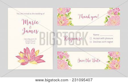 Set Of Wedding Party Invitation, Save The Date Card, Response And Thank You Note Templates With Bloo