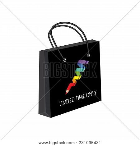 Paper Bag Multicolored Spiral Pencil On An Isolated White Background Advertising Banner Cosmetics St