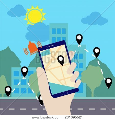 Hand Holding A Smartphone With Navigation Application On It
