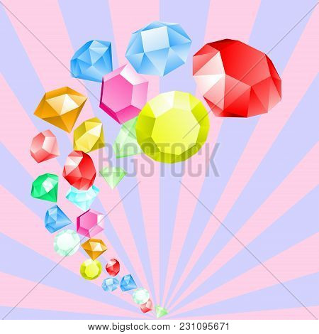 Diamonds. Rainbow Of Gemstones. Fashion Jewelry. Abstract Multicolor Background In Pastel Colors Wit