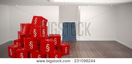 Vector icon of section symbol against white room with stairs Vector icon of section symbol on blocks