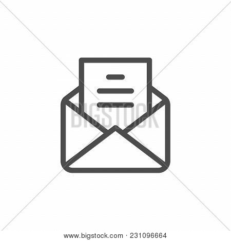 Mail Line Icon Isolated On White. Vector Illustration