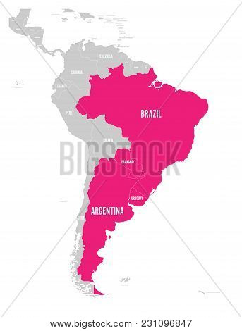 Map Of Mercosur Countires. South American Trade Association. Pink Highlighted Member States Brazil,