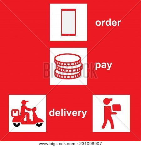 Icons That Show The Steps For Home Delivery