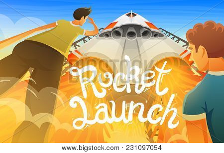 Rocket Launch. International Spaceship, Shuttle In Space, Bottom View. Technology And Science, Ship