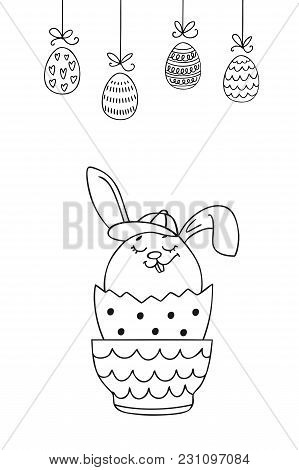 Christian Spring Holidays Greeting Card With Hand Drawn Easter Bunny And Eggs. Perfect Vector Design
