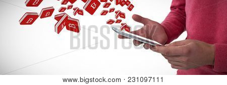 Mid section of man using mobile phone against bit coin symbol