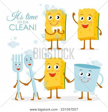 Vector Illustration Set Of Smiling Dish Washing Sponge Character With Spoon And Fork, Cup Wash Toget