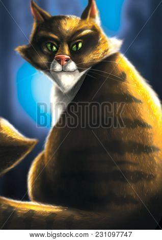 Digital Illustration Of An Evil Looking Ginger Cat Sitting Down
