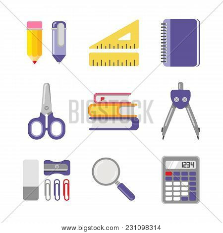 School And Office Stationery. Vector Icon Set In Flat Style. Set Of Different School Items.