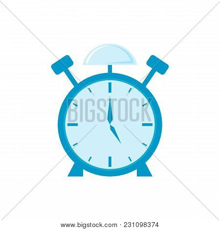 Retro Style Green Alarm Clock, Cartoon Vector Illustration Isolated On White Background. Stylized Ca