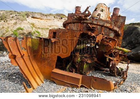 Close Up On The Stern Of A Wrecked Pusher Craft