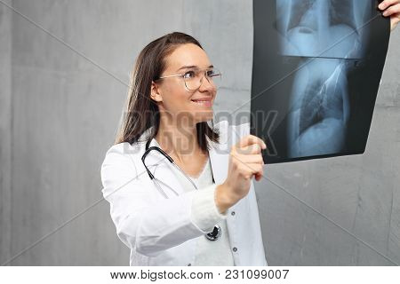 Lungs X-ray. The Pulmonary Disease Doctor Looks At The X-ray