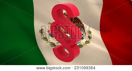 Vector icon of section symbol against digitally generated Mexican national flag