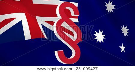 Vector icon of section symbol against digitally generated australian national flag