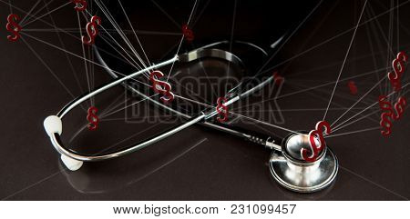 Vector icon of section symbol against metal black stethoscope in the dark