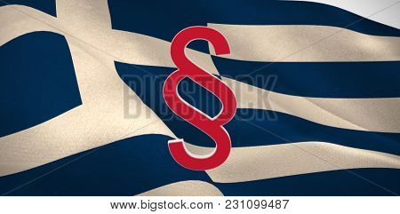 Vector icon of section symbol against digitally generated Greek national flag
