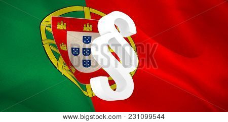 Vector icon of section symbol against digitally generated Portuguese national flag
