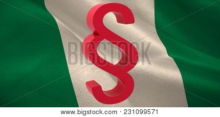Vector icon of section symbol against digitally generated Nigerian national flag