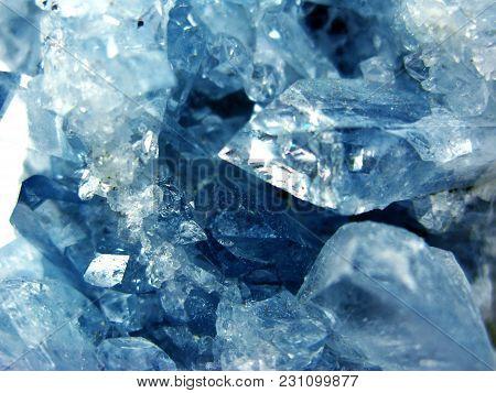 Aquamarine Natural Quartz Blue Gem Geological Crystals Texture Background
