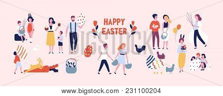 Crowd Of People Carrying Large Decorated Easter Eggs, Cakes, Baskets, Flowers And Pussy Willow Branc