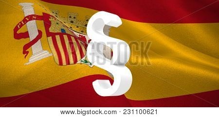 Vector icon of section symbol against digitally generated Spanish national flag