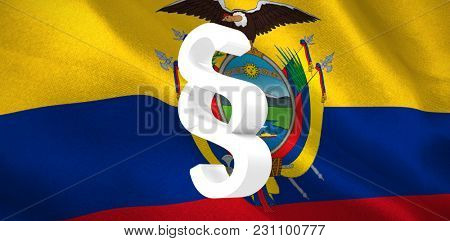 Vector icon of section symbol against digitally generated Ecuador national flag