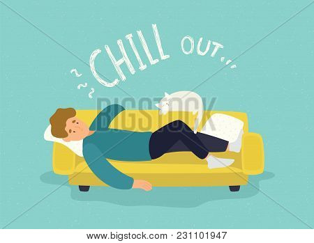 Cute Man Lying Relaxed On Yellow Couch And Chill Out Inscription. Cheerful Guy Resting On Sofa With