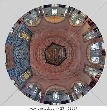 Istanbul, Turkey - March 24, 2012: Topkapi Palace. The Ceiling Of The Library.