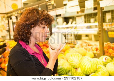 Shopping Consumerism Woman At Grocery Store Or Supermarket Buy Food Fruit And Vegetable