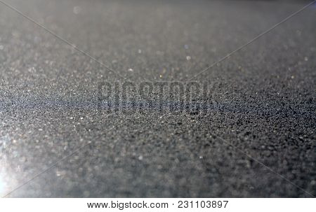 Frost And Snow With Blur Effect On Sun. Abstract Background And Texture For Design.